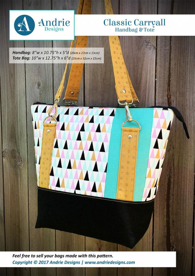 Classic Carryall Handbag & Tote sewing pattern from Andrie Designs