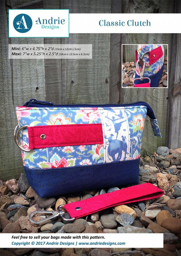 Classic Clutch sewing pattern from Andrie Designs