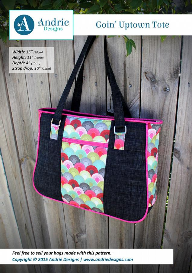Goin Uptown Tote sewing pattern from Andrie Designs