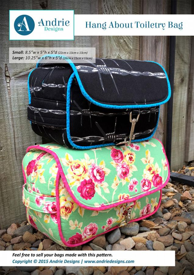 Hang About Toiletry Bag sewing pattern from Andrie Designs