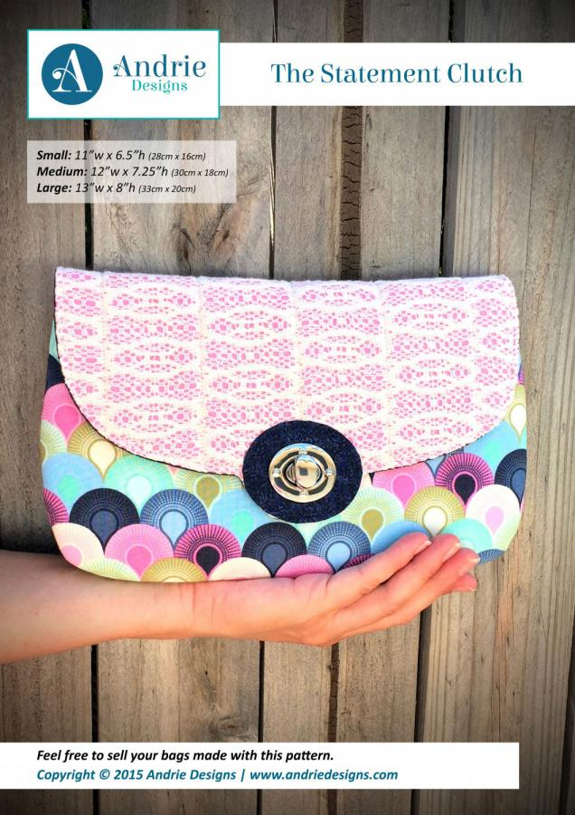 The Statement Clutch sewing pattern from Andrie Designs