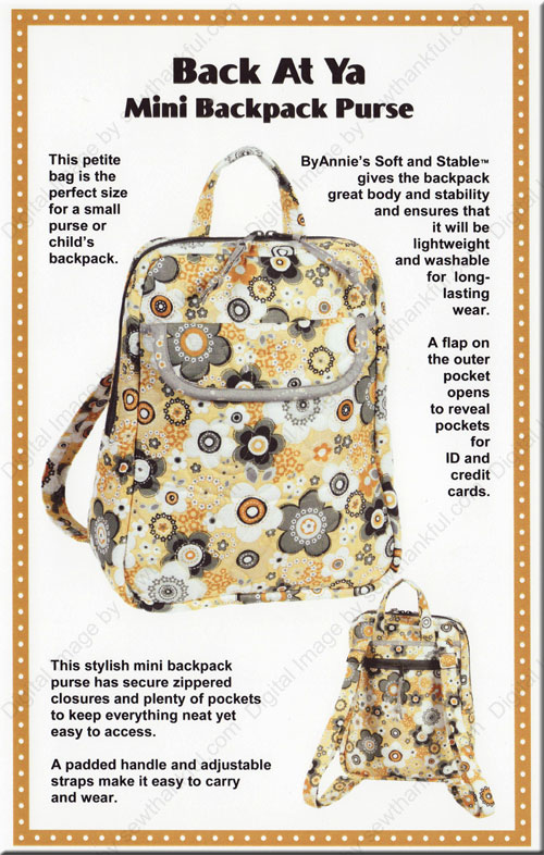 Back At Ya Mini Backpack Purse sewing pattern from Annie Unrein