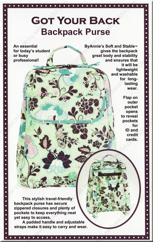 Got Your Back Backpack Purse sewing pattern from Annie Unrein