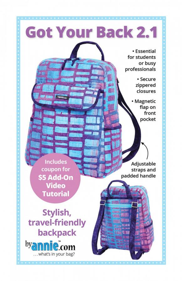 Got Your Back 2.1 Backpack Purse sewing pattern from Annie Unrein