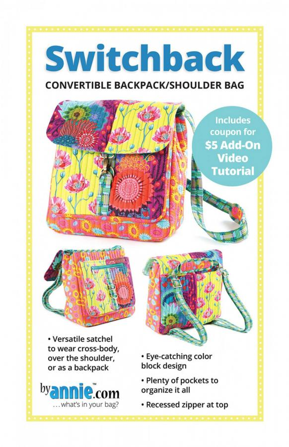 Switchback backpack sewing pattern from Annie Unrein