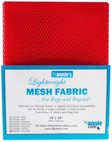Polyester Mesh Fabric by Annie Unrein - Atom Red