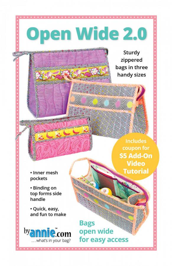 Open Wide 2.0 zippered bag sewing pattern by Annie Unrein