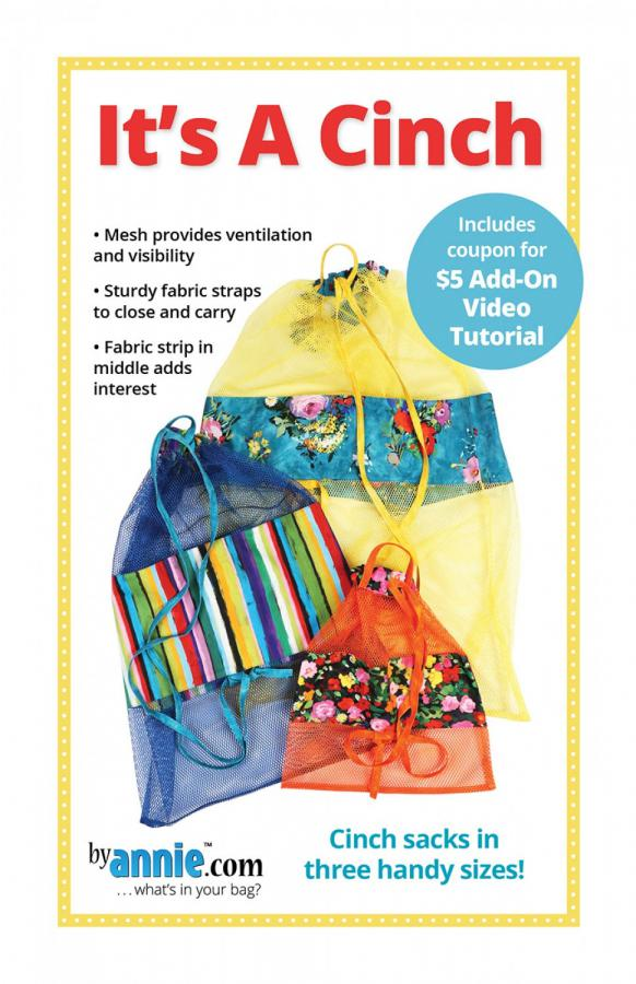 It's A Cinch drawstring mesh sacks sewing pattern by Annie Unrein