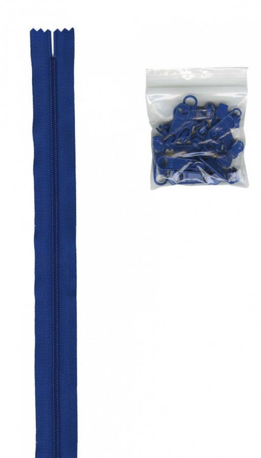 Zipper Tape ByAnnie - 4yds 16mm with 16 Pulls Set - Blast Off Blue