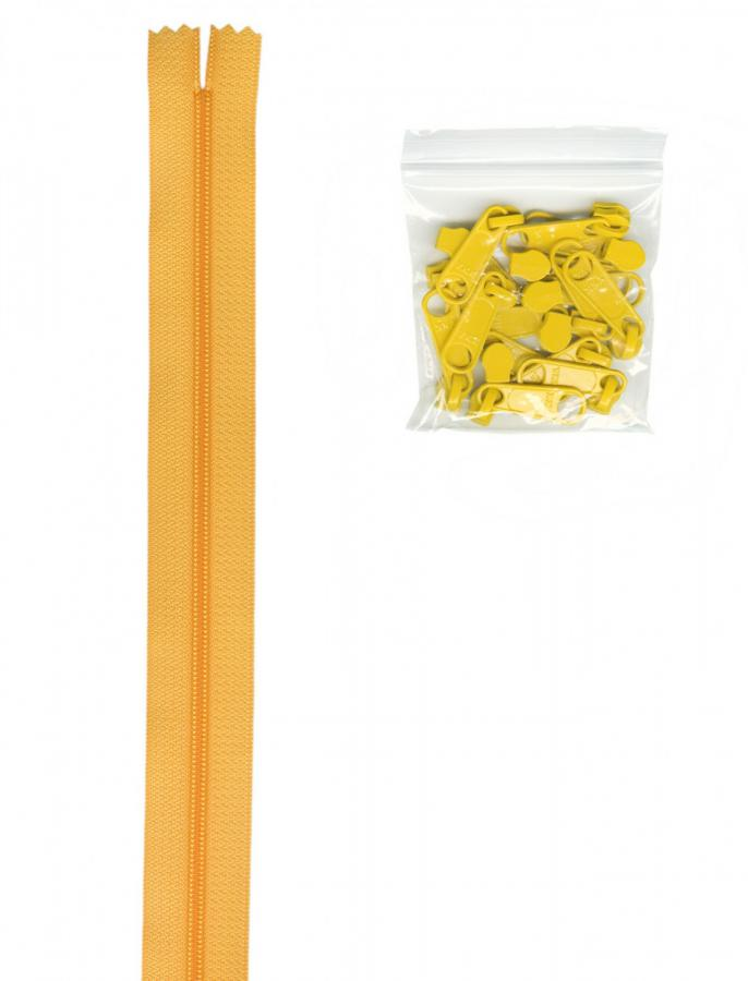 Zipper Tape ByAnnie - 4yds 16mm with 16 Pulls Set - Buttercup