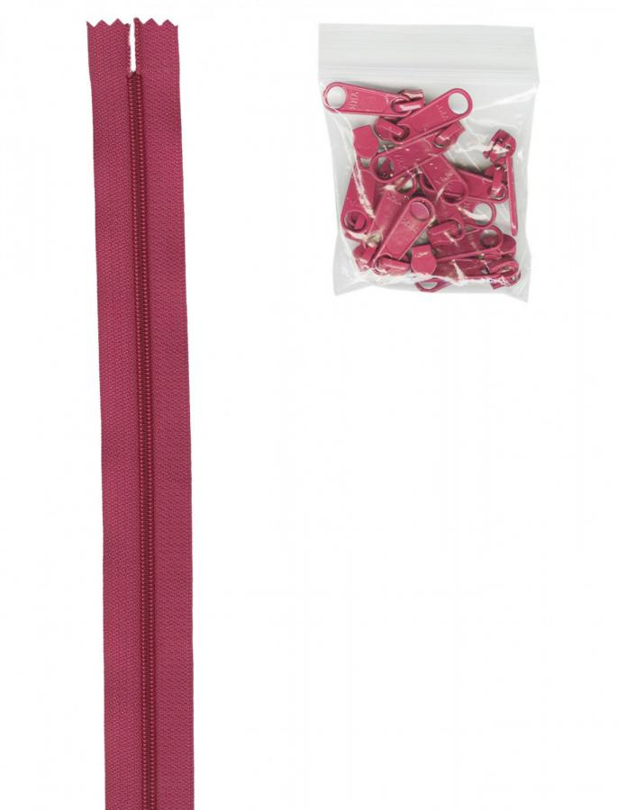 Zipper Tape ByAnnie - 4yds 16mm with 16 Pulls Set - Crazy Plum