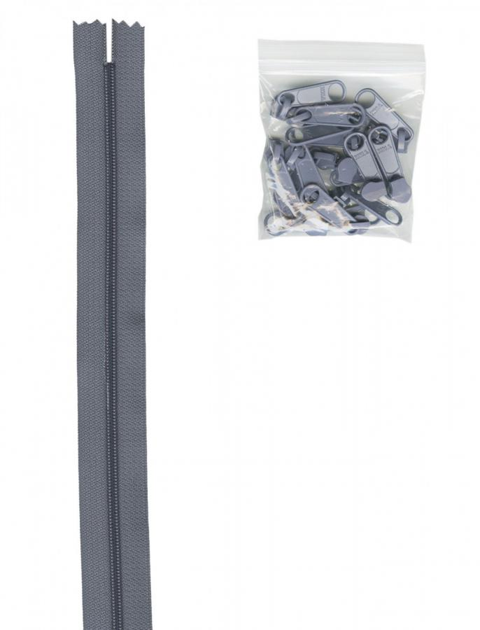 Zipper Tape ByAnnie - 4yds 16mm with 16 Pulls Set - Gunmetal