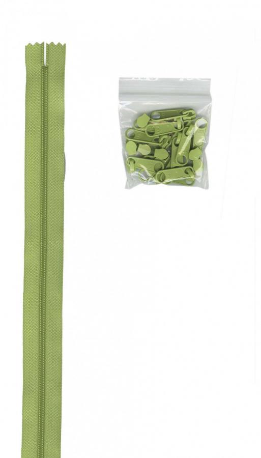 Zipper Tape ByAnnie - 4yds 16mm with 16 Pulls Set - Chartreuse