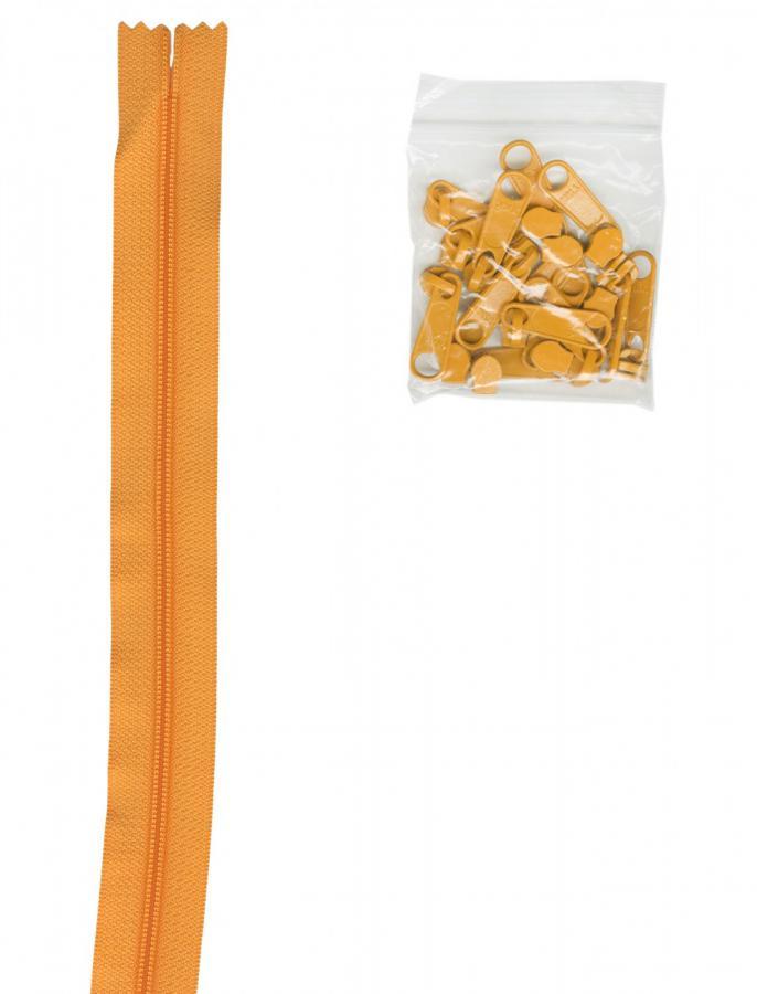 Zipper Tape ByAnnie - 4yds 16mm with 16 Pulls Set - Papaya