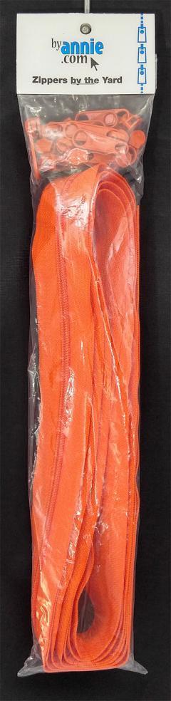 Zipper Tape ByAnnie - 4yds 16mm with 16 Pulls Set - Tangerine
