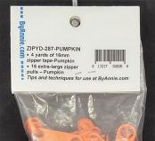 Zipper Tape ByAnnie - 4yds 16mm with 16 Pulls Set - Pumpkin 2