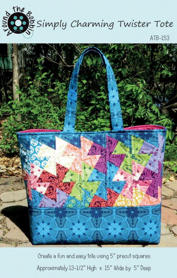 Simply Charming Twister Tote sewing pattern from Around the Bobbin