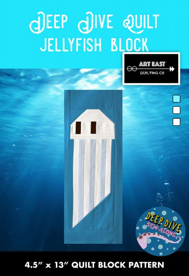 Jellyfish Block - Deep Dive quilt sewing pattern from Art East Quilting Co.