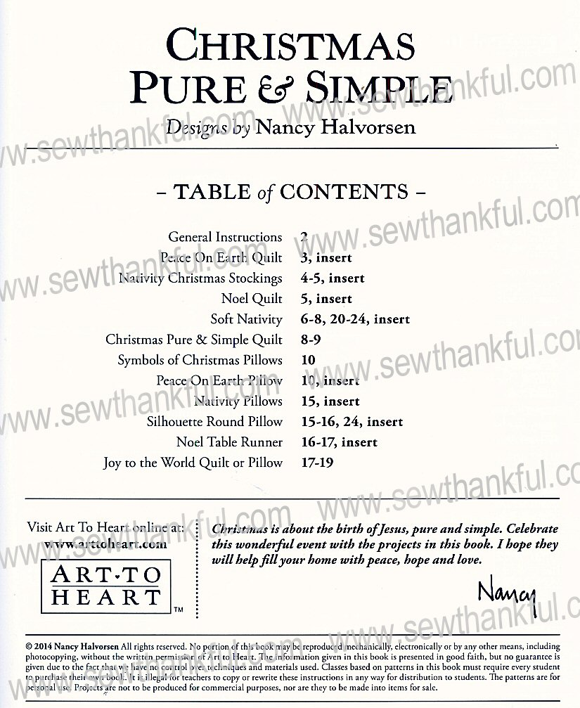 ChristmasPureAndSimple_TableOfContents