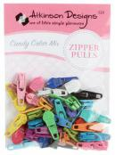 Zipper Pulls Candy Color MIX of ASSORTED COLORS, approx. 30 count, from Atkinson Designs