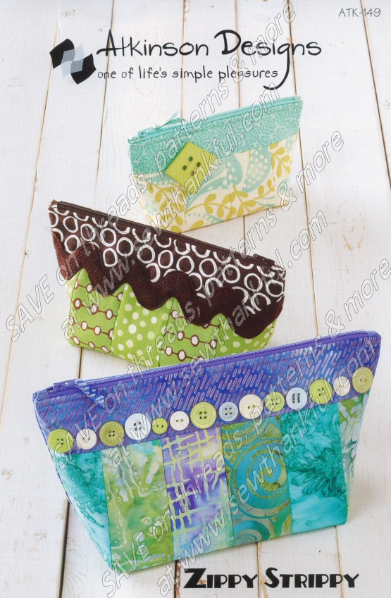 Zippy Strippy Zippered Pouch Bags Sewing Pattern From
