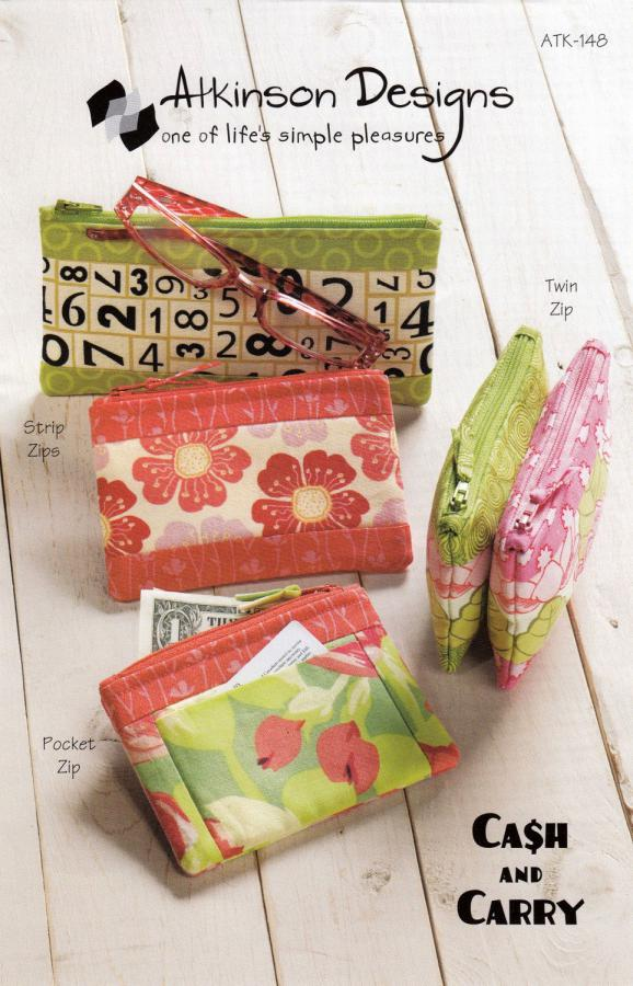 Cash & Carry zippered pouches sewing pattern from Atkinson Designs
