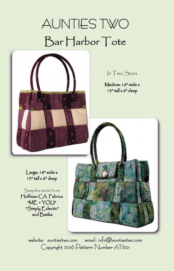 Bar Harbor Tote sewing pattern from Aunties Two