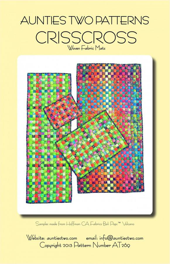 Crisscross fabric mats sewing pattern from Aunties Two