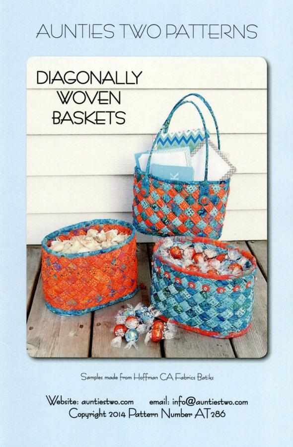 Diagonally Woven Baskets sewing pattern from Aunties Two