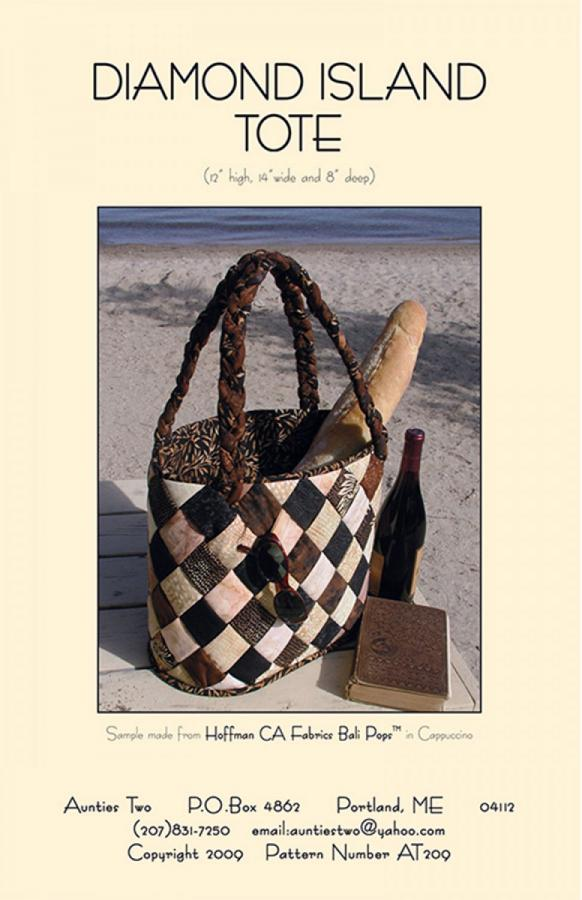 Diamond Island Tote sewing pattern from Aunties Two