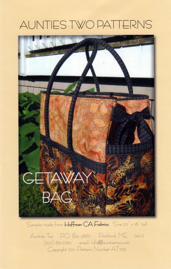 Getaway Bag sewing pattern from Aunties Two