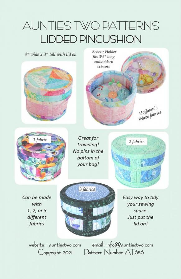 Lidded Pincushion sewing pattern from Aunties Two