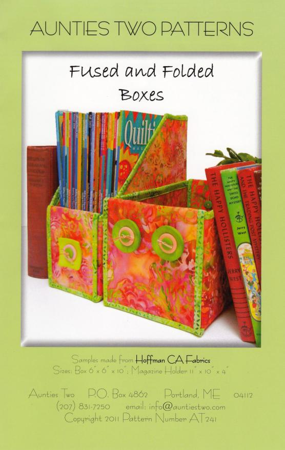 Fused and Folded Boxes sewing pattern from Aunties Two