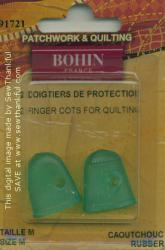 Rubber Finger Cots for Quilting 2 pack - Size Medium - from Bohin (France)
