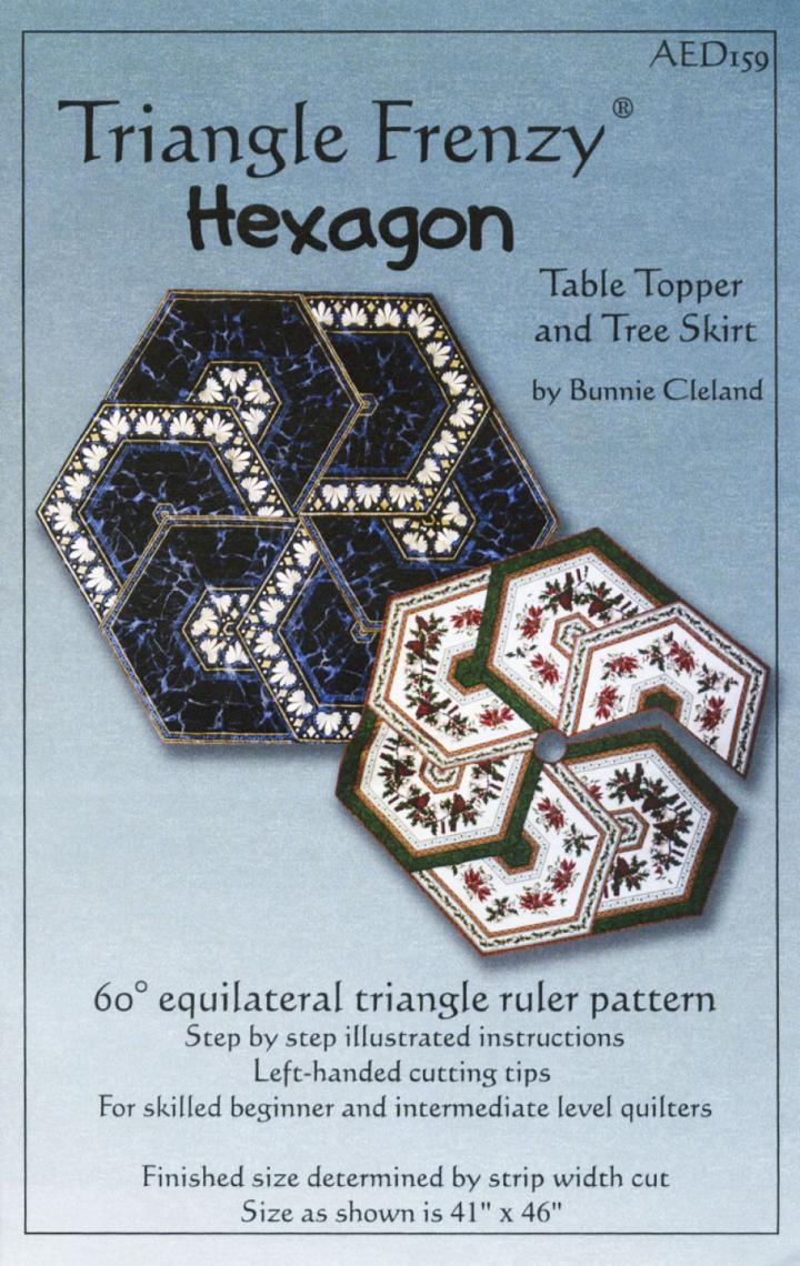 Triangle Frenzy Hexagon Table Topper sewing pattern from Bunnie Cleland