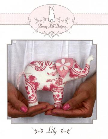 Lily elephant petite stuffed animal sewing pattern from Bunny Hill Designs