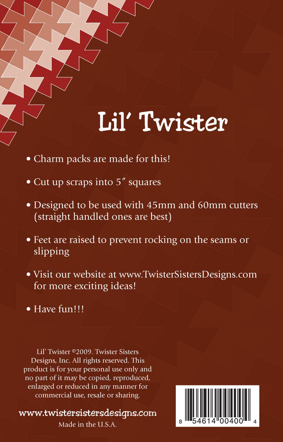 Lil Twister Pinwheel from Twister Sisters backcover