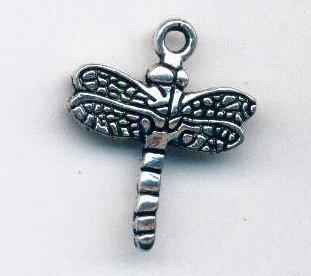 Charm -Dragonfly - 16x20mm - silver tone
