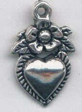 Charm - Heart with Flower - 12x18mm - silver tone