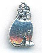 Charm -Sitting Cat - 10x19mm - silver tone