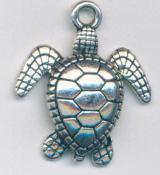 Charm - Sea Turtle - 24x28mm - silver tone