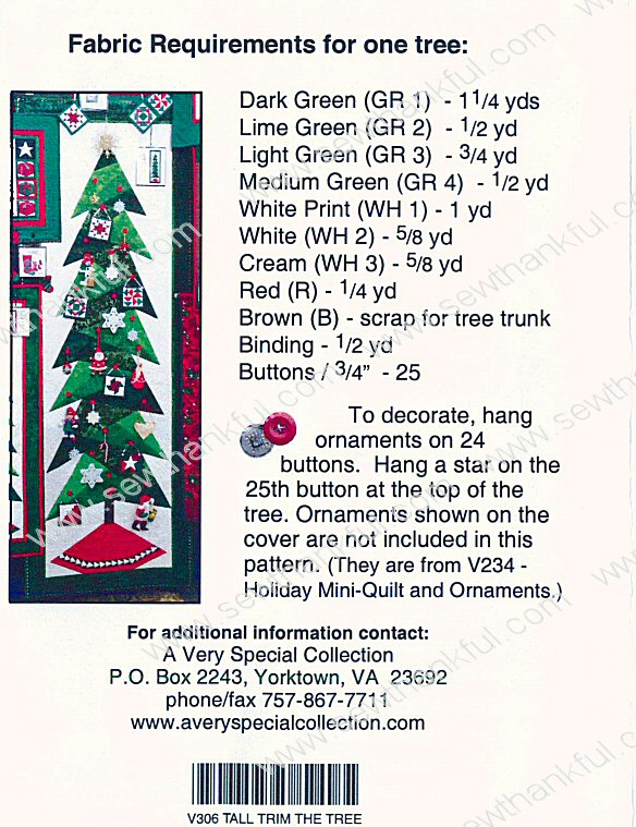 A Little Bit More Tall Trim The Tree Quilt Sewing Pattern From Cindi Edgerton