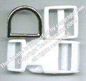 Large Dog Collar Hardware -- WHITE