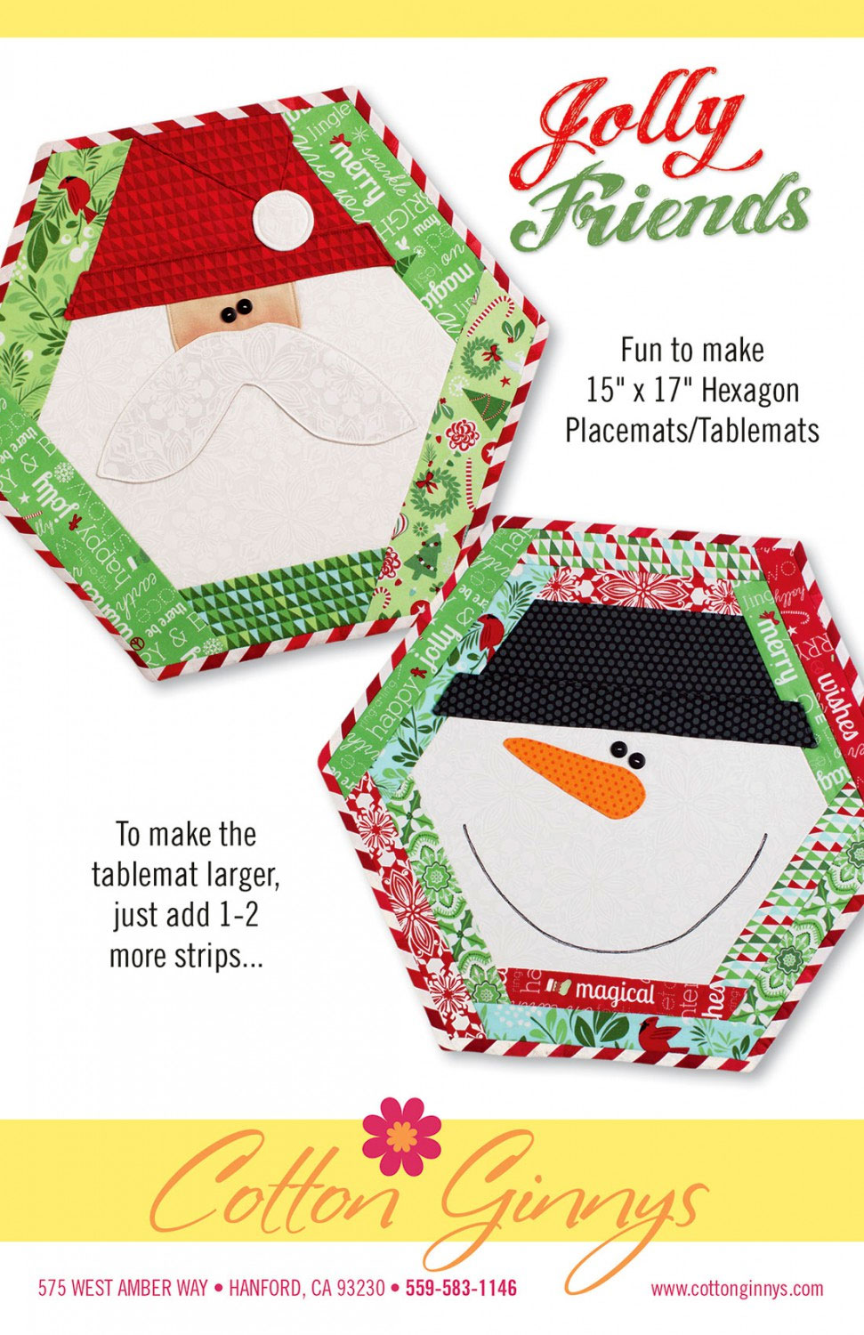 Jolly Friends Placemats / Tablemats sewing pattern from Cotton Ginnys