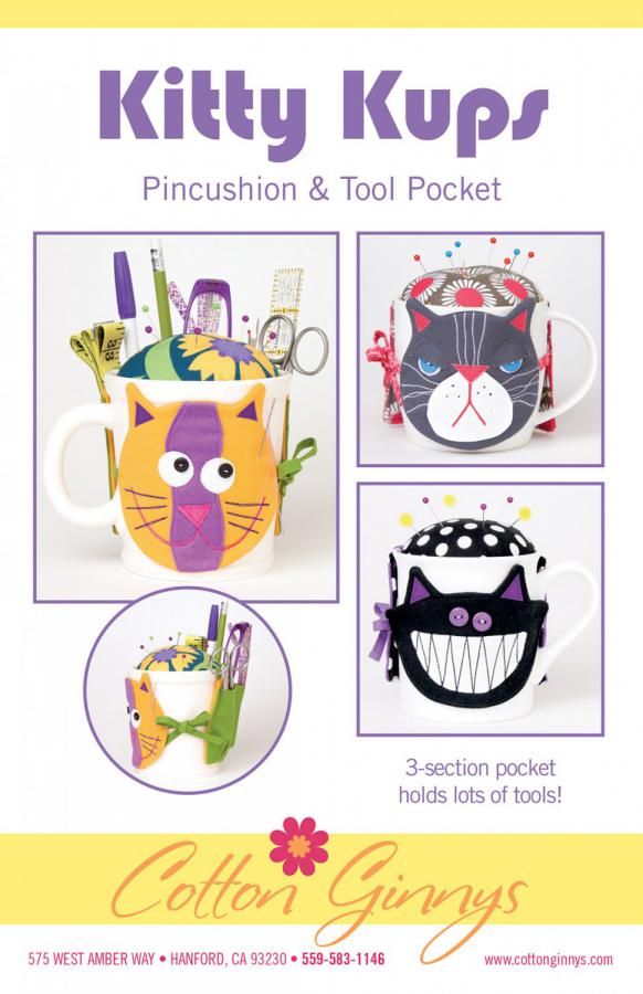 Kitty Kups Pincushion & Tool Pocket sewing pattern from Cotton Ginnys