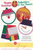 INVENTORY REDUCTION...Happy Holidays Potholders & Tea Towels sewing pattern from Cotton Ginnys