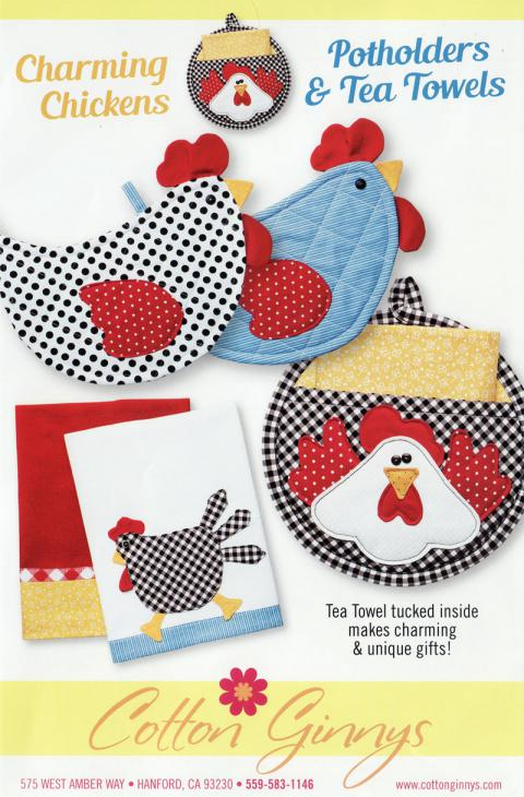 Charming Chickens Potholders & Tea Towels sewing pattern from Cotton Ginnys