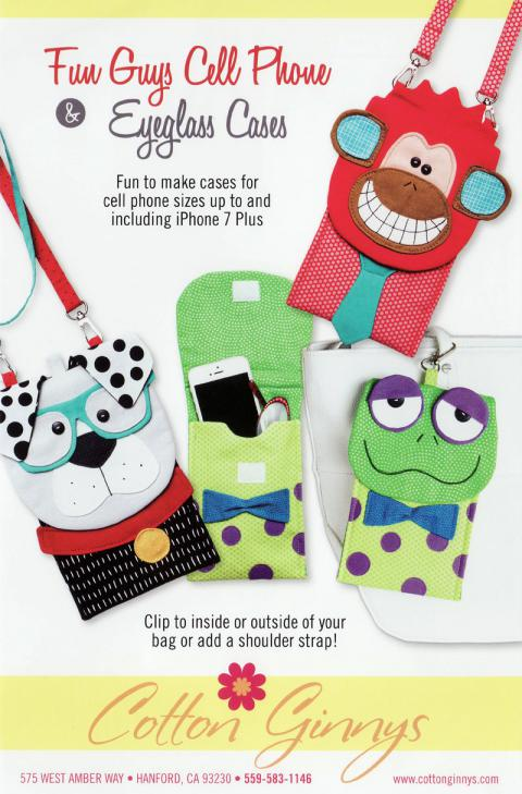 Fun Guys Cell Phone & Eyeglass Case sewing pattern from Cotton Ginnys