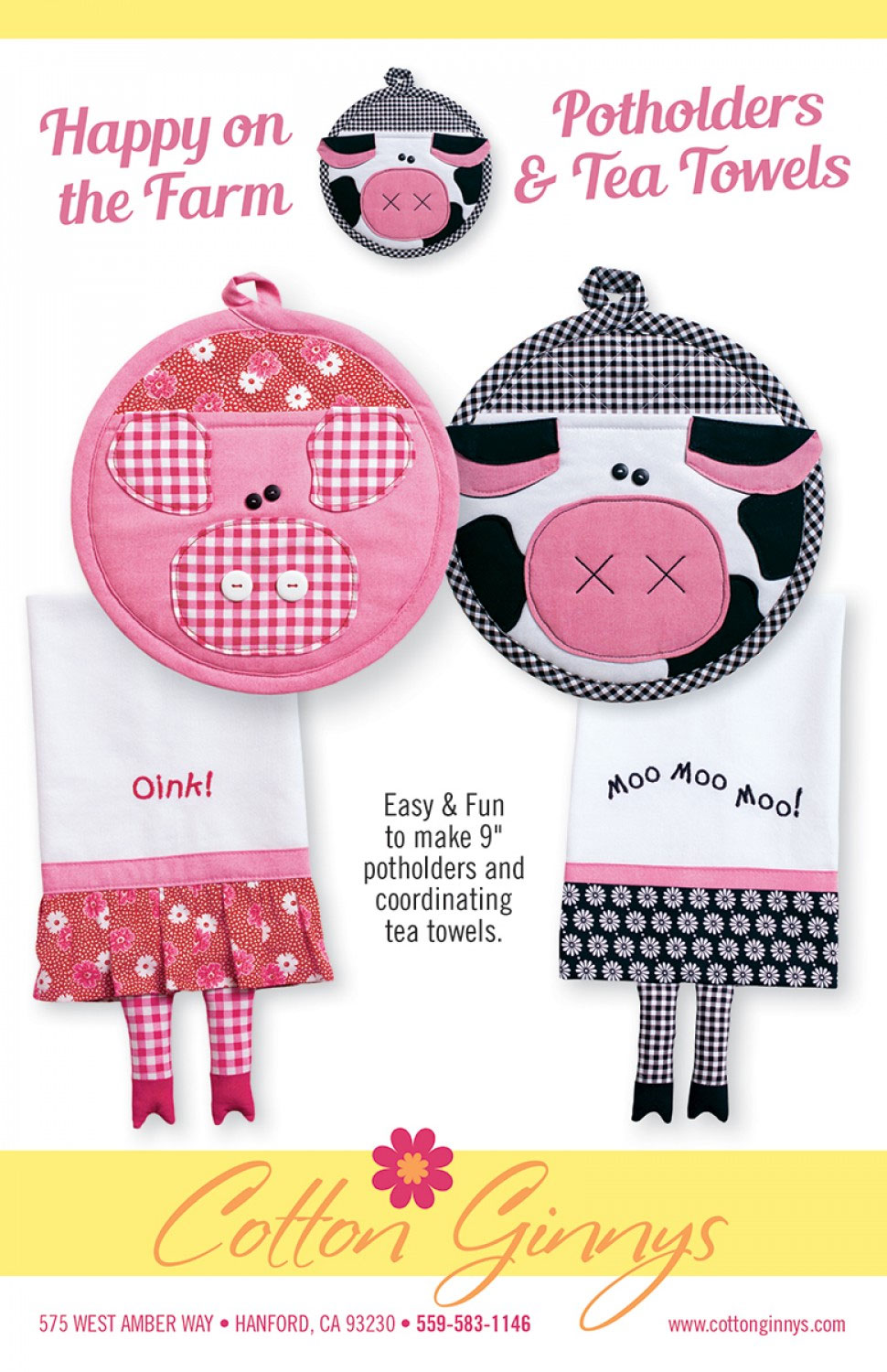 Happy-on-the-Farm-potholders-and-tea-towels-sewing-pattern-Cotton-Ginnys-front