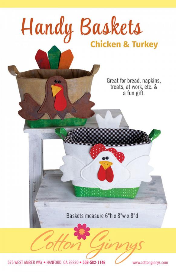 Handy Baskets Chicken and Turkey sewing pattern from Cotton Ginnys
